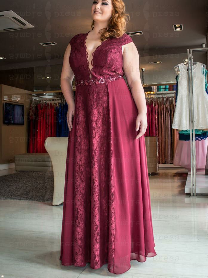 A-Line V-Neck Red Lace Plus Size Prom Dress with Detachable Train