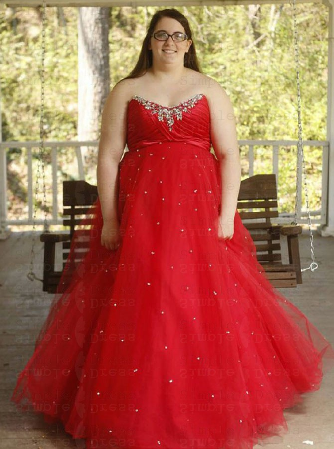 A-Line Sweetheart Red Tulle Plus Size Prom Dress with Beading
