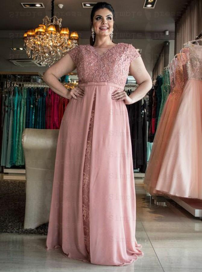 A-Line V-Neck Light Blue Lace Plus Size Prom Dress with Detachable Train