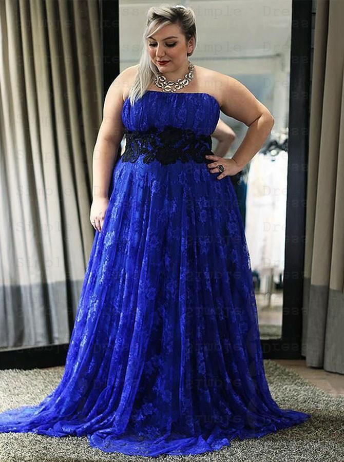 A-Line Strapless Royal Blue Lace Plus Size Dress with Appliques