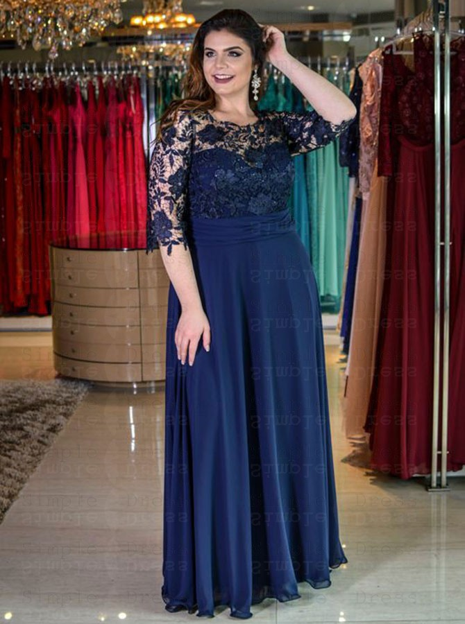 A-Line Round Neck Navy Blue Chiffon Plus Size Dress with Lace