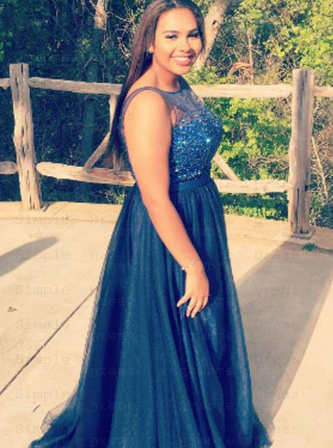 A Line Bateau Navy Blue Tulle Plus Size Prom Dress With Beading
