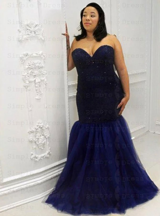 Mermaid Sweetheart Navy Blue Plus Size Tulle Prom Dress with Lace Beading