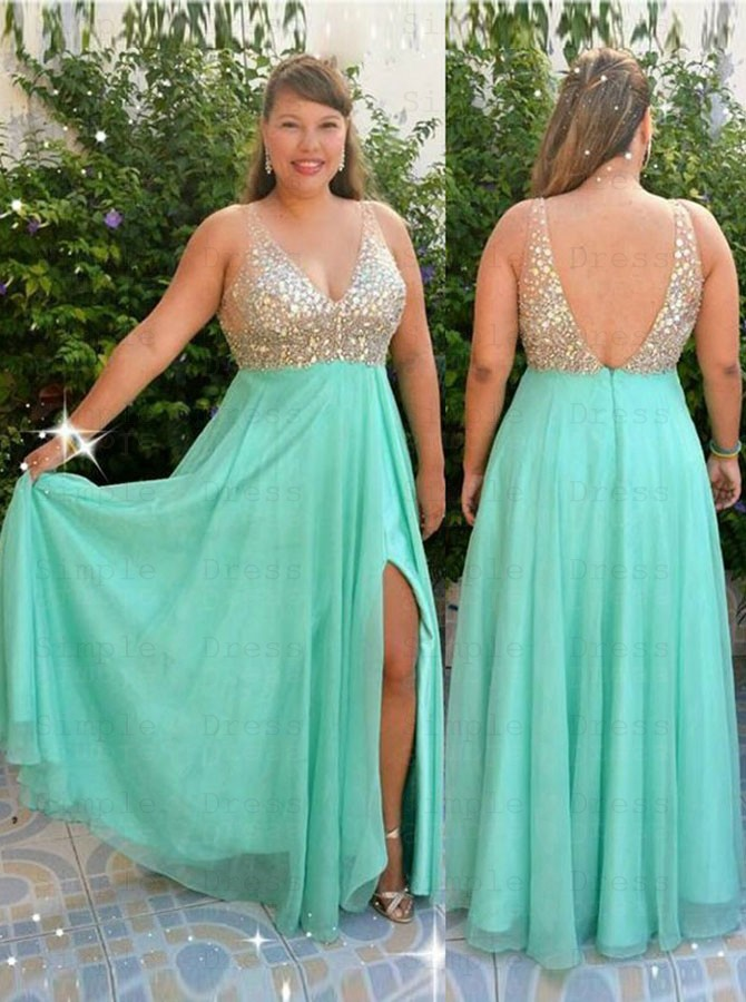 A-Line V-Neck Floor Length Mint Green Chiffon Plus Size Prom Dress with  Beading