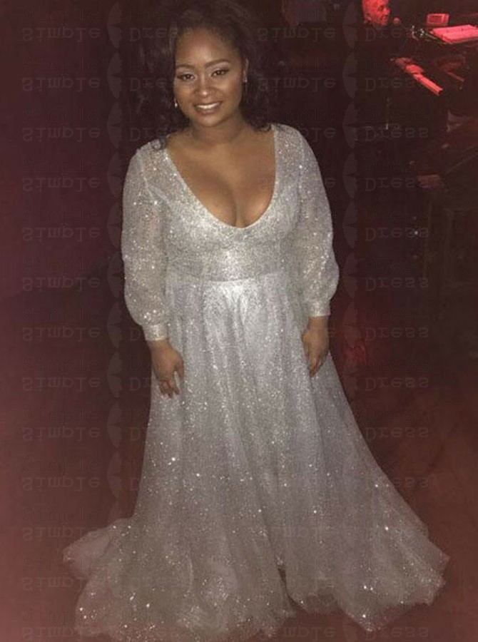 A-Line Scoop Sweep Train White Sequined Plus Size Prom Dress