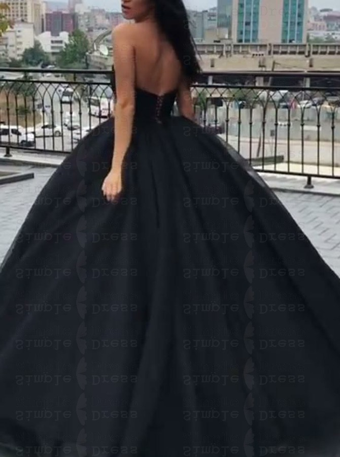 Ball Gown Sweetheart Floor Length Black Tulle Quinceanera Dress