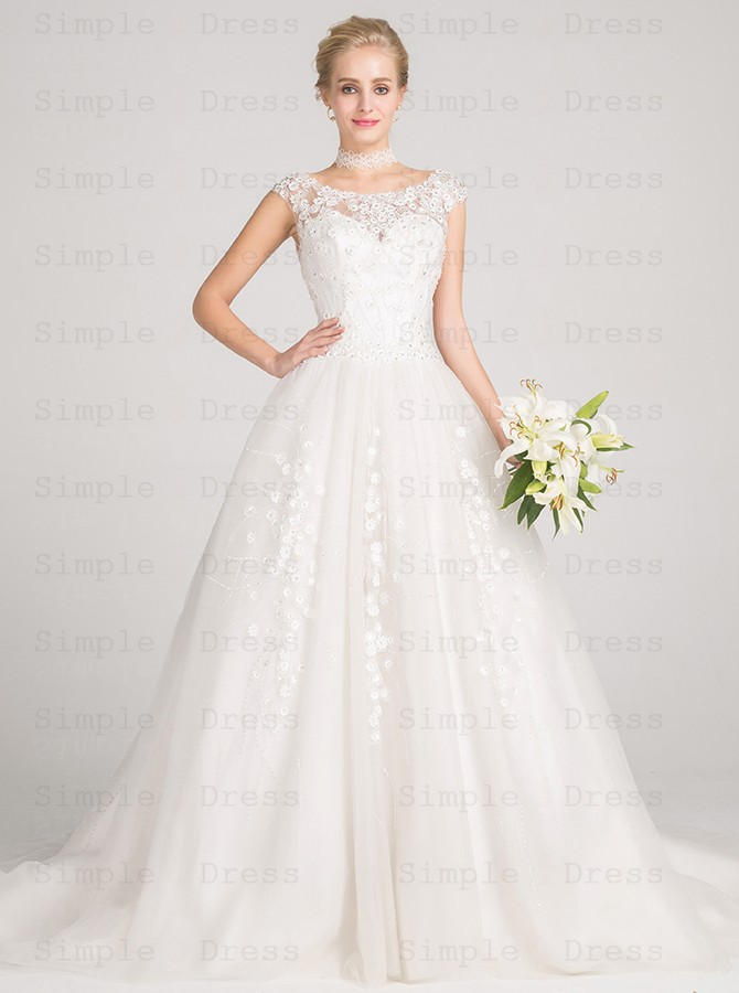 Ball Gown Bateau Cap Sleeves Tulle Wedding Dress With Beading Appliques Wedding Dresses 296 99 Simple Dress Com,Country Wedding Dresses For Mother Of The Groom