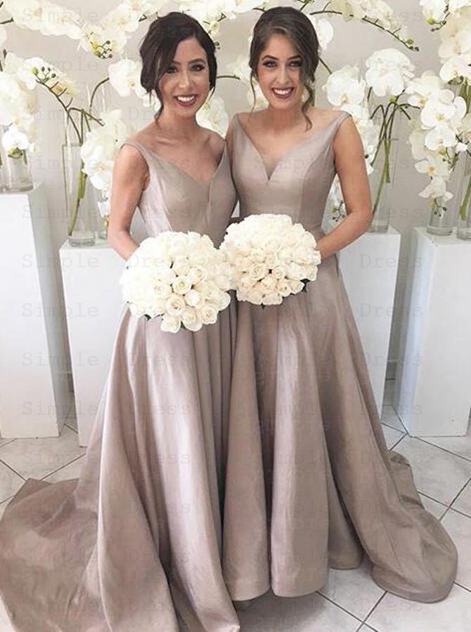 Simple V Neck Sleeveless Hi Low Sweep Train Silver Bridesmaid Dress Wedding Party Dresses 94 99 Simple Dress Com