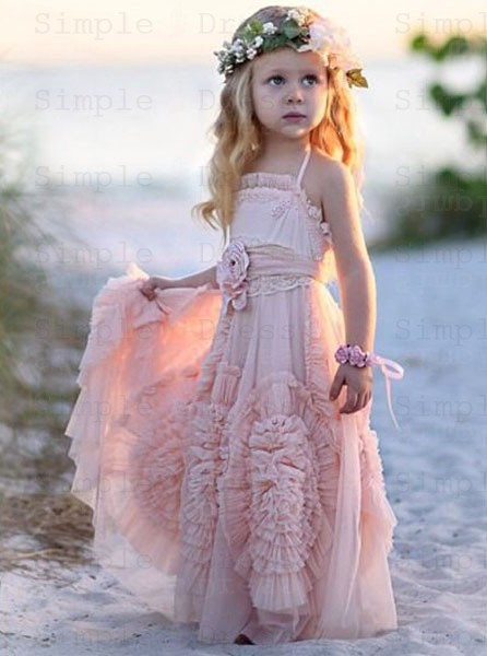 A Line Halter Pink Tulle Flower Dress With Ruffles Flowers