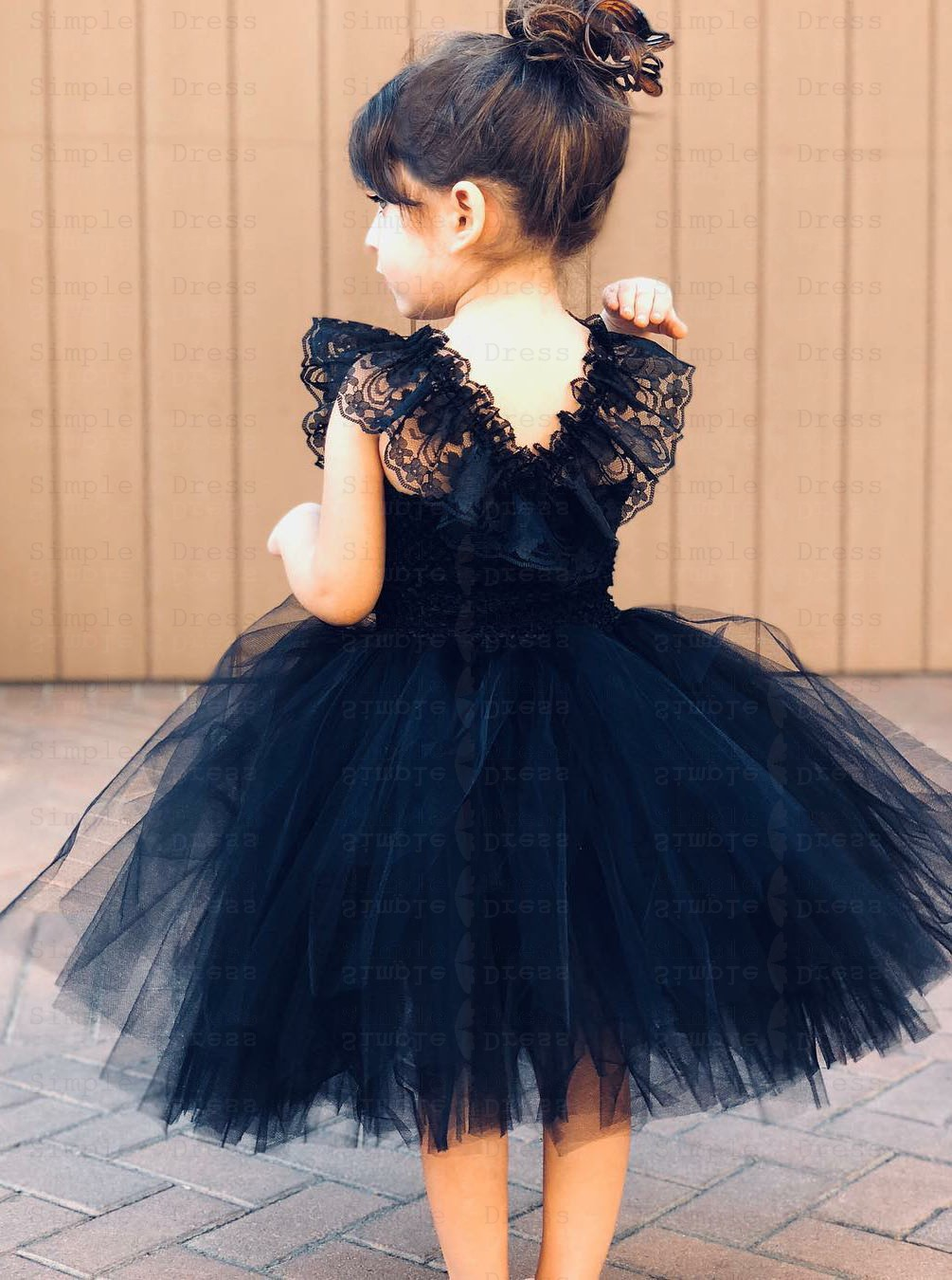 Cater Allombra scià  Ball Gown Navy Blue Tulle Flower Girl Dress with Ruffles - Wedding Party  Dresses - $69.99 | Simple-dress.com