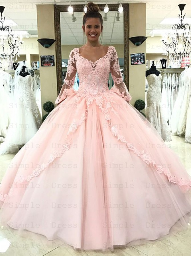 Ball Gown Scoop 3 4 Sleeves Pearl Pink Tulle Appliques Quinceanera Dress Special Occasion Dresses 328 99 Simple Dress Com