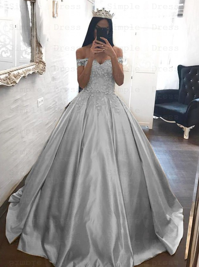 Ball Gown Off-the-Shoulder Silver Satin