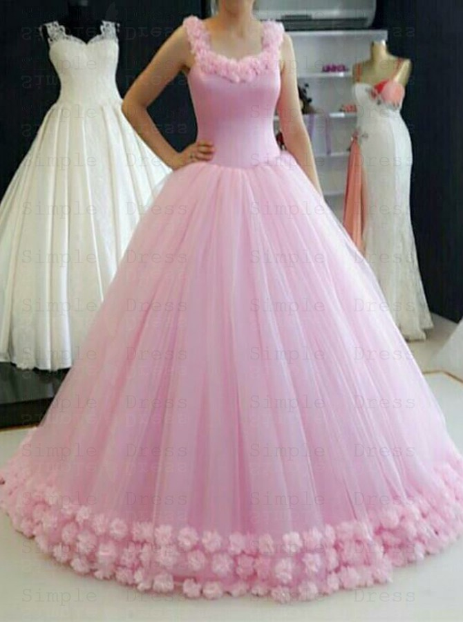 Ball Gown Straps Sweep Train Pink Tulle Quinceanera Dress With Flowers Special Occasion Dresses 235 99 Simple Dress Com