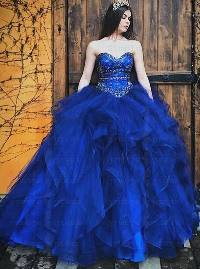 Ball Gown Sweetheart Royal Blue Tulle Quinceanera Dress ...