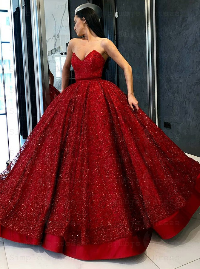 Ball Gown Sweetheart Floor Length Red Sequined Quinceanera Dress