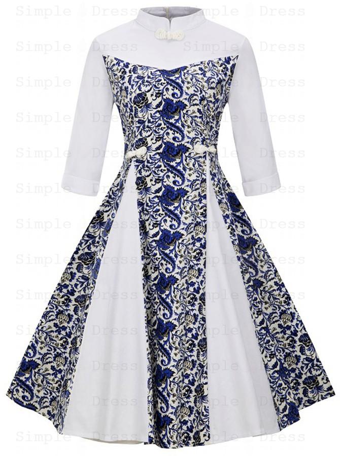 Floral Patchwork High Neck Multi Color Plus Size Vintage Dress