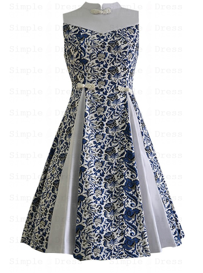 Floral Patchwork High Neck Sleeveless Multi Color Plus Size Vintage Dress