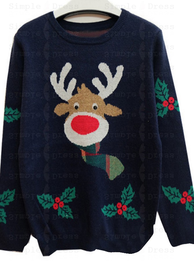 classic styles low priced many fashionable Navy Blue Crew Neck Santa Printed Christmas Womens Oversized ...