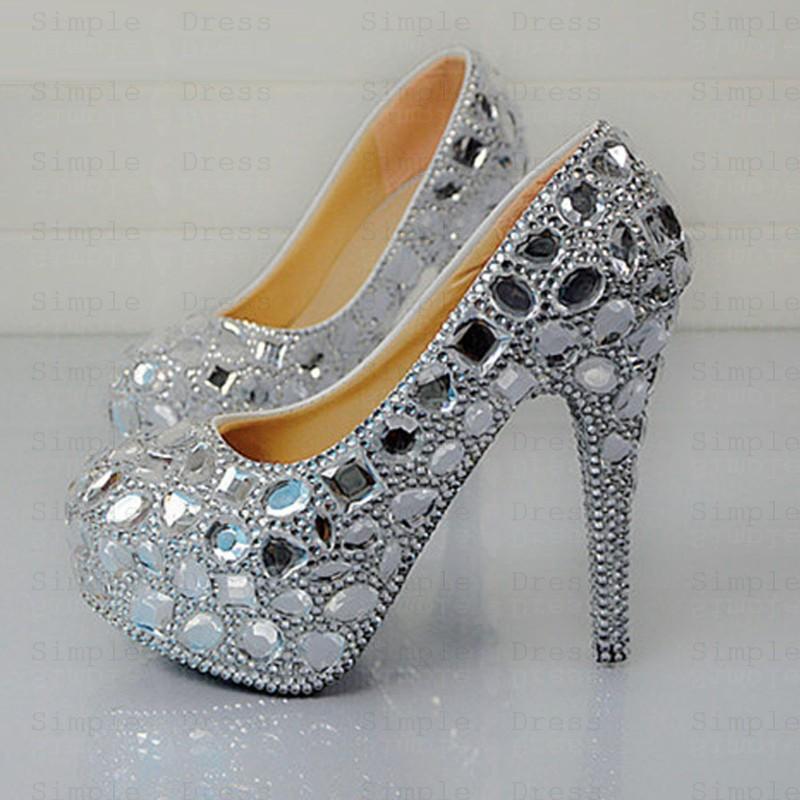 Women\u0027s High/Ultal,High Heel Silver/Grey Prom Shoes