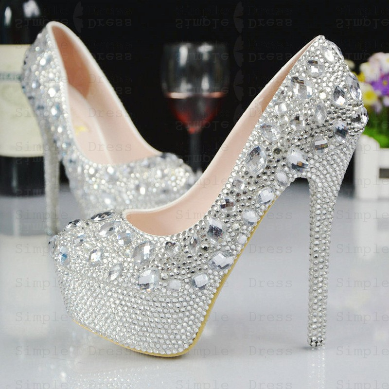 Women S High Ultal High Heel Silver Grey Prom Shoes