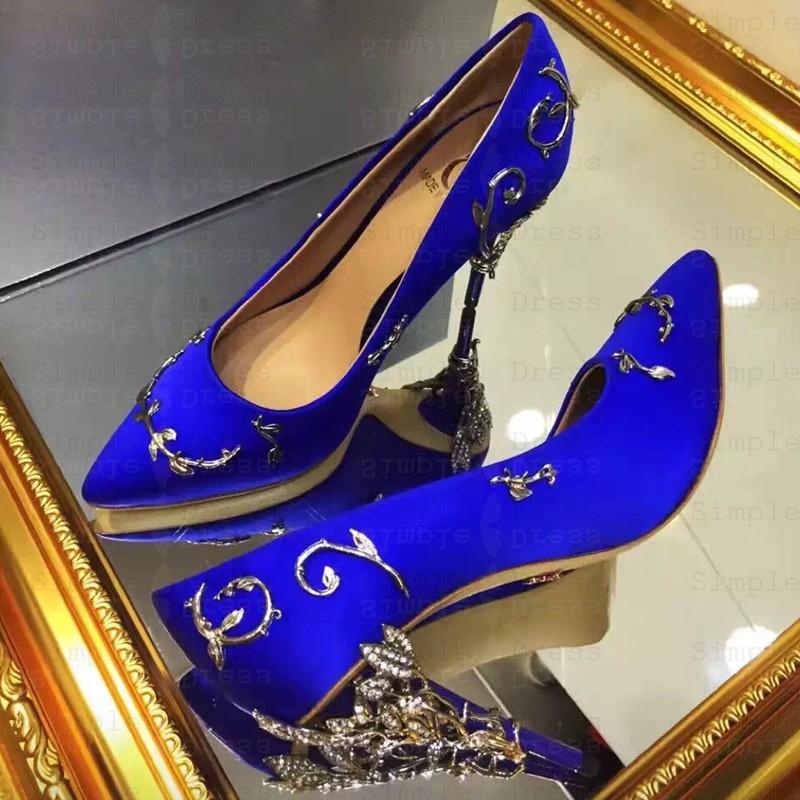 Women's High Heel Royal Blue/Pink Real