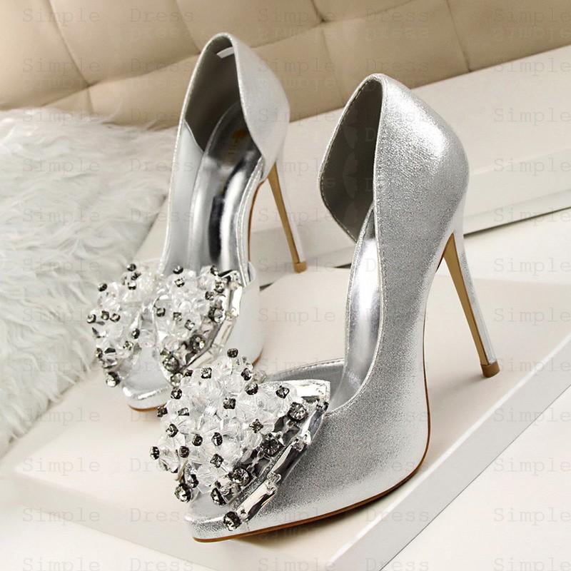 Women\u0027s Ultra,High Heel Peep Toe with Beading Crystal Prom Shoes Silver  Heels