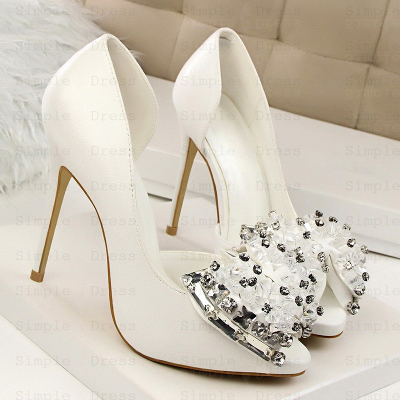 Women S Ultra High Heel Peep Toe With Beading Crystal Prom Shoes Silver Heels