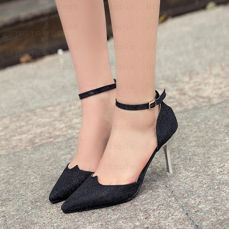 Women's High Heel Sequins Buckle Black