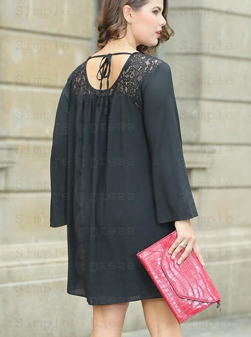 Long Sleeves Lace Plus Size Black Chiffon Shift Dress