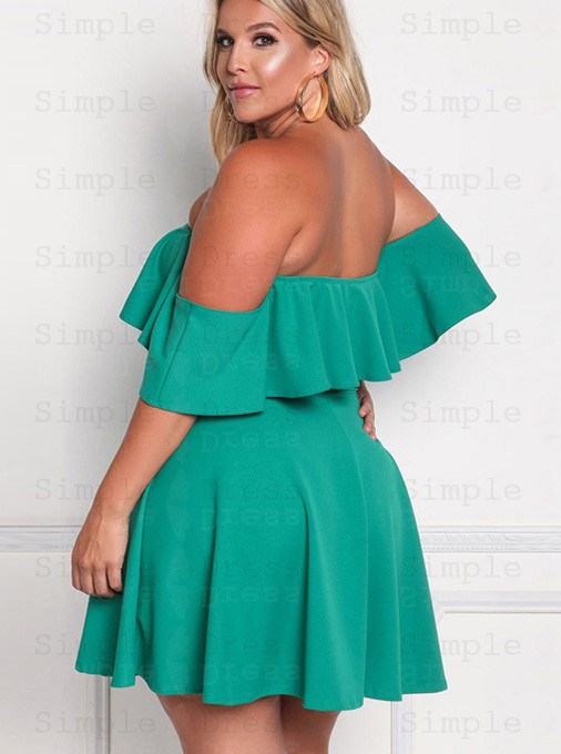 Off the Shoulder Ruffles Green A-line Plus Size Dress