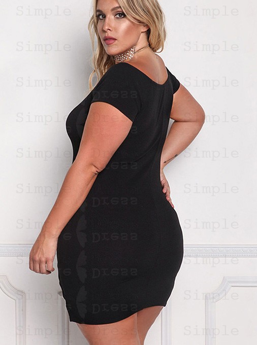 Off the Shoulder Bodycon Short Sleeves Plus Size Black Dress