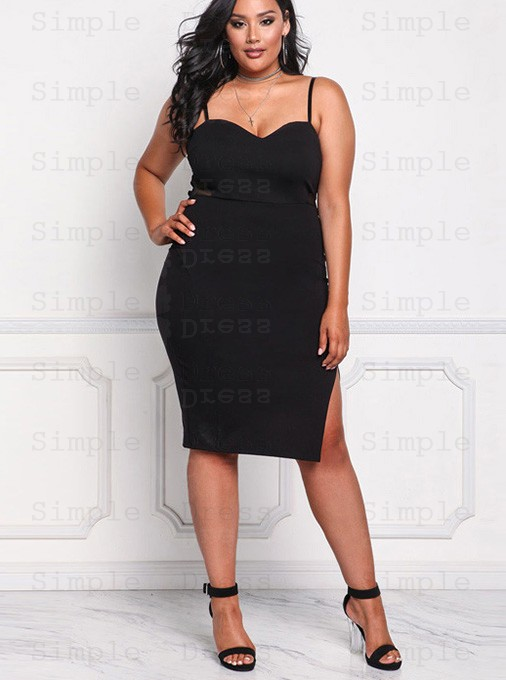 Bodycon Spaghetti Straps Plus Size Black Dress