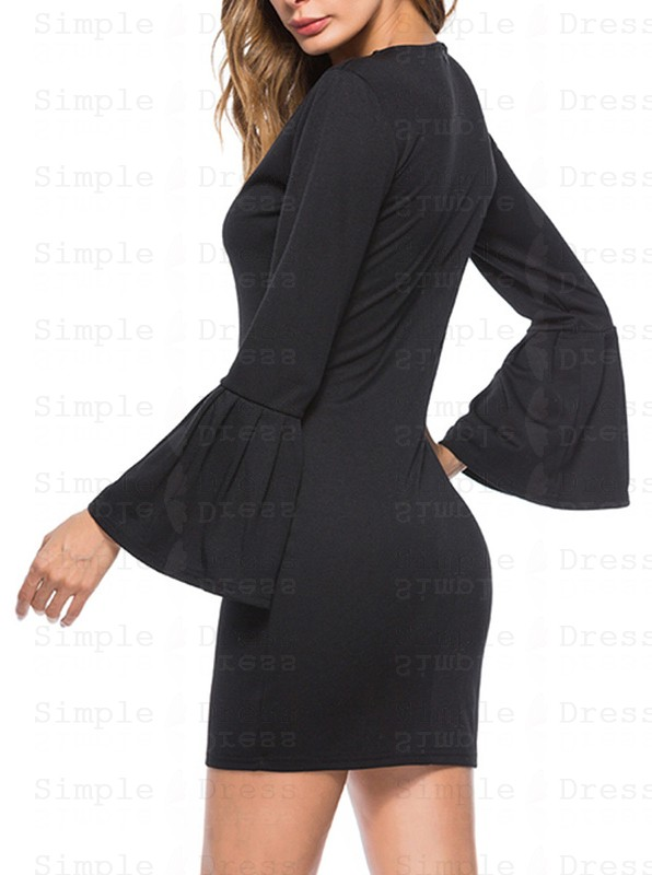 Black high neck flare sleeve belted bodycon dress