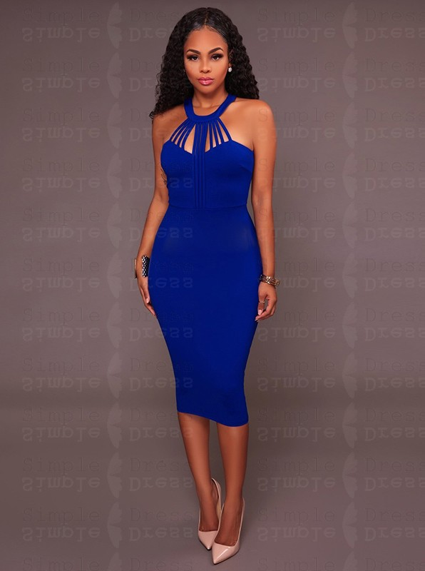 Round Neck Royal Blue Bodycon Party Dress - Women Dresses - US