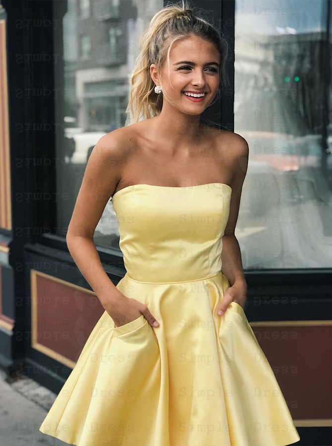Yellow Homecoming Dress with Pockets