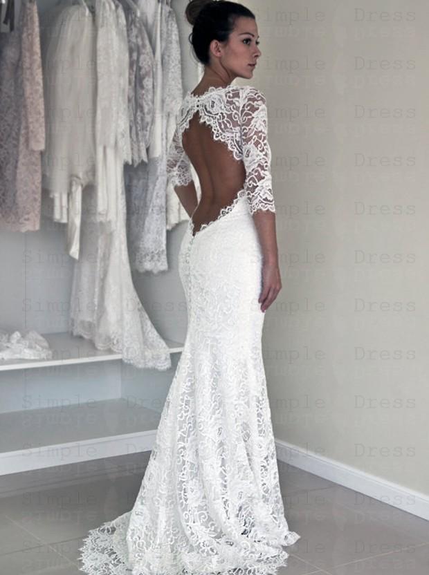Sexy Mermaid Wedding Dress White Scoop Half Sleeves Dress With Lace Wedding Dresses 249 99 Simple Dress Com,Cheap Short Wedding Dresses Online