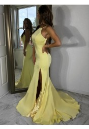 Mermaid Square Straps Sweep Train Open Back Yellow Satin Prom Dress with Split