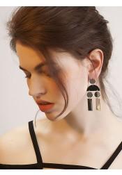 Metallic Geometric Silver Alloy Earring