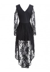 Fashion Gothic Mesh See-Through High Low Lace Vintage Dress