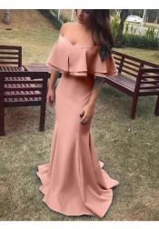 Mermaid Off-shoulder Short Sleeves Sweep Train Pink Satin Prom Dress