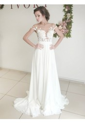 Elegant Illusion Bateau Sweep Train Wedding Dress with Appliques Split