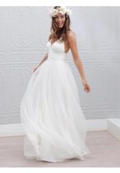 Simple V-neck Floor-Length Open Back White Wedding Dress Ruched Sash