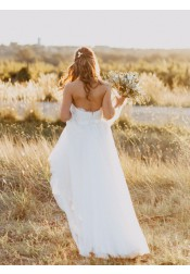 Exquisite Sweetheart Floor-Length A-line White Wedding Dress with Lace Open Back