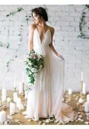A-Line Deep V-Neck Sweep Train Backless Ivory Chiffon Wedding Dress with Pleats