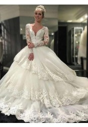 Decent V-neck Tiered Long Sleeves Wedding Dress with Appliques Lace Top Backless