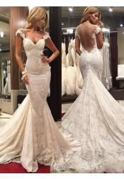 Mermaid Scoop Illusion Back Cap Sleeves Court Train Lace Wedding Dress