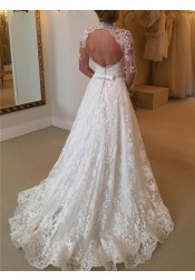 Stylish High Neck Long Sleeves Sweep Train Lace Wedding Dress with Bowknot Backless