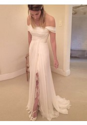 Simple Strapless Short Long Ruched Chiffon Wedding Dress with Lace Legslit