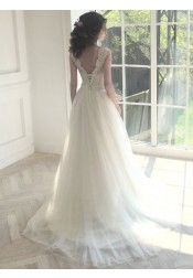 Decent Scalloped Sweep Train Open Back Wedding Dress With Lace Top