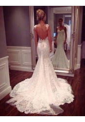 Honorable Spaghetti Straps Backless Court Train Mermaid Wedding Dress with Appliques
